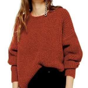 NWT Topshop Zip Detail Waffle Knit Rust Sweater